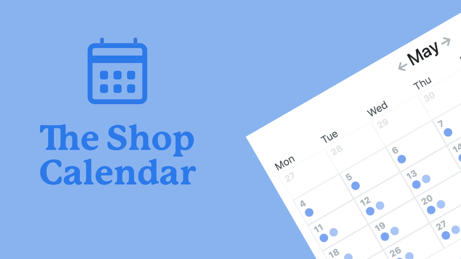 the shop calendar banner